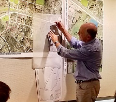 Bill Tunnell starts to sketch potential streets on south side